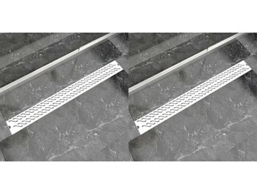 Drain de douche linéaire 2pcs Vague 1030x140mm Acier inoxydable - vidaXL