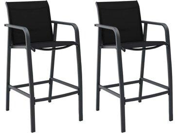 Chaises de bar de jardin 2 pcs Noir Textilène - vidaXL