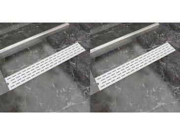 Drain de douche linéaire 2 pcs Ligne 730x140mm Acier inoxydable - vidaXL