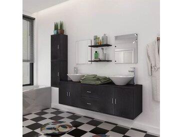 Meuble de salle de bain 11 pcs avec lavabo et robinet Noir - vidaXL