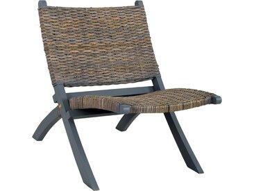 Chaise de relaxation Gris Rotin naturel kubu et bois d'acajou - vidaXL
