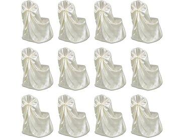 Housses de chaise pour banquet de mariage 12 pcs Crème - vidaXL