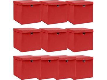Boîtes de rangement et couvercles 10 pcs Rouge 32x32x32cm Tissu - vidaXL