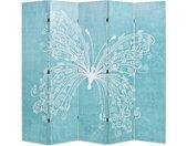Cloison de séparation pliable 200 x 170 cm Papillon Bleu - vidaXL