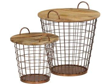 Jeu de table basse/panier 2pcs Bois de manguier massif 55x50cm - vidaXL