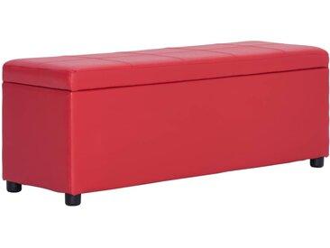 Banc avec compartiment de rangement 116 cm Rouge Similicuir - vidaXL