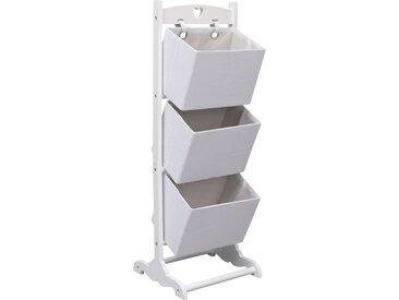 Support à panier 3 niveaux Blanc 35x35x102 cm Bois  - vidaXL