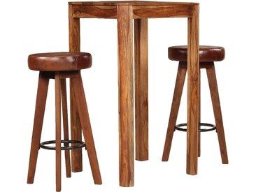 Ensemble de bar 3 pcs Bois de Sesham massif et cuir véritable - vidaXL