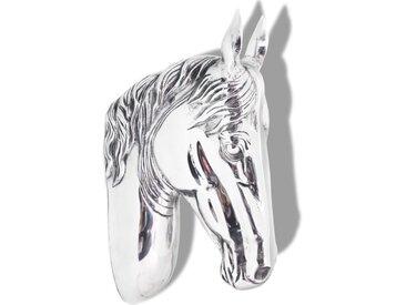 Décoration murale en forme de tête de cheval Aluminium Argenté - vidaXL