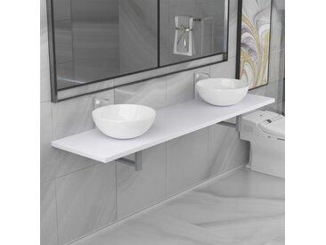Meuble de salle de bain à 3 pcs Céramique Blanc - vidaXL