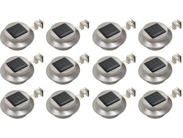 Lampes solaires à LED rondes d'extérieur 12 pcs 12 cm Blanc - vidaXL
