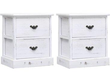 2 pcs Tables de chevet Blanc 38x28x45 cm Bois de Paulownia - vidaXL