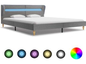 Cadre de lit avec LED Gris clair Tissu 160 x 200 cm - vidaXL