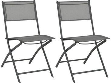 Chaises de jardin pliables 2 pcs Acier et textilène - vidaXL