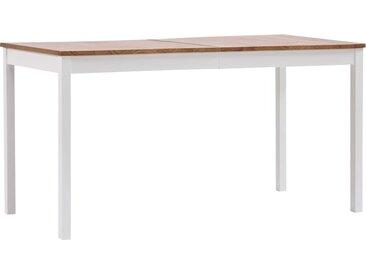 Table de salle à manger Blanc et marron 140 x 70 x 73 cm Pin - vidaXL