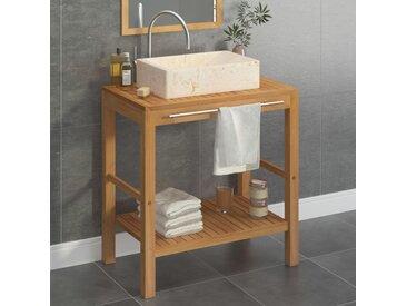 Armoire de toilette en teck solide avec lavabo en marbre Crème - vidaXL
