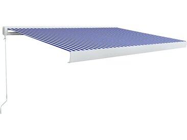 Store à cassette manuel 450x300 cm Bleu et blanc - vidaXL