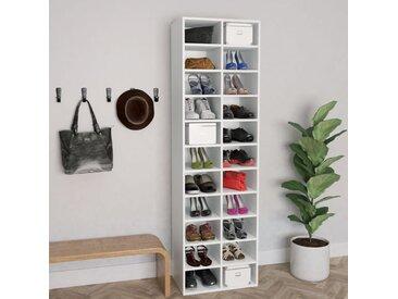 Armoire à chaussures Blanc 54 x 34 x 183 cm Aggloméré - vidaXL