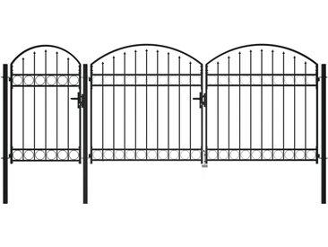 Portail de jardin avec dessus arqué Acier 1,75 x 4 m Noir - vidaXL