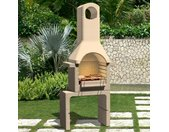 Support de barbecue au charbon de bois Béton avec cheminée - vidaXL