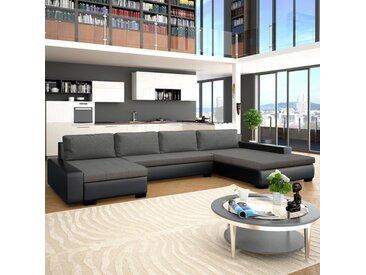 Canapé-lit modulaire Similicuir Noir et gris foncé - vidaXL