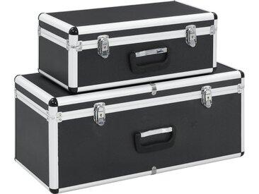 Boîtes de rangement 2 pcs Noir Aluminium  - vidaXL