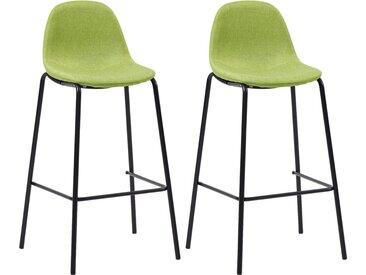 Chaises de bar 2 pcs Vert Tissu - vidaXL