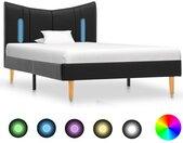 Cadre de lit avec LED Noir Similicuir 90 x 200 cm - vidaXL