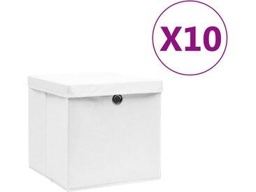 Boîtes de rangement avec couvercles 10 pcs 28x28x28 cm Blanc - vidaXL