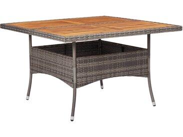 Table d'extérieur Gris Résine tressée et bois d'acacia solide - vidaXL