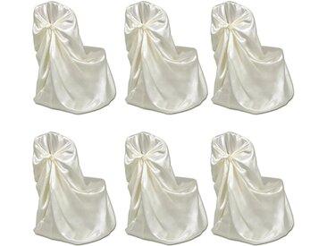 Housse de chaise crème pour le banquet de mariage 6 pièces - vidaXL
