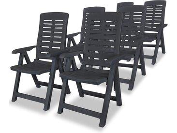 Chaises inclinables de jardin 6 pcs Plastique Anthracite - vidaXL