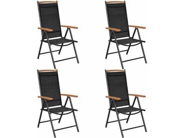 4 pcs Chaises pliables de jardin Aluminium et textilène Noir - vidaXL