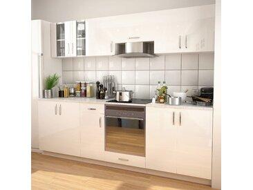 Ensemble d'armoires de cuisine 8 pcs avec hotte Blanc brillant - vidaXL