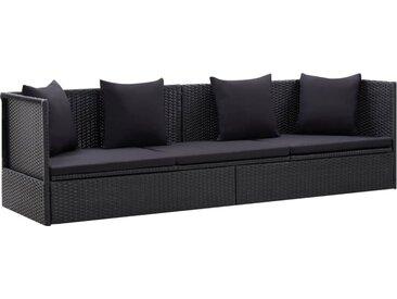 Canapé d'extérieur et coussin et oreiller Résine tressée Noir - vidaXL
