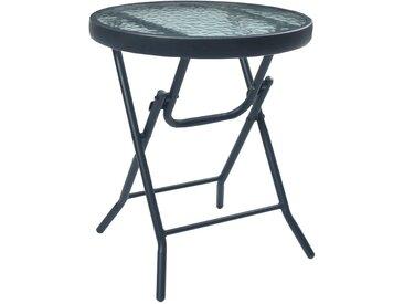 Table de bistro Noir 40x46 cm Acier et verre - vidaXL