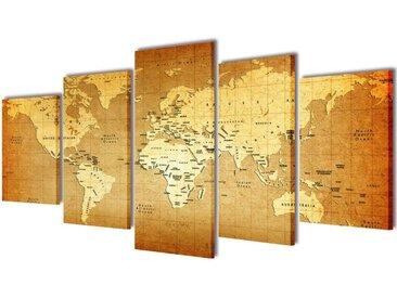 """Set de toiles murales imprimées """"Carte du monde"""" 200 x 100 cm - vidaXL"""
