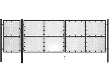 Portail de jardin Acier 500 x 150 cm Noir - vidaXL