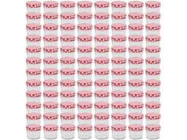 Pots à confiture Couvercles blanc et rouge 96 pcs Verre 110 ml - vidaXL