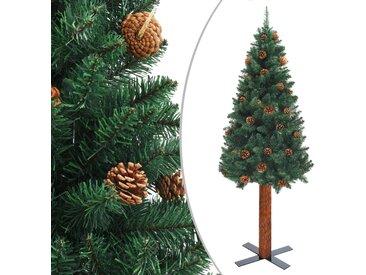 Sapin de Noël mince avec bois véritable et cônes Vert 150cm PVC - vidaXL