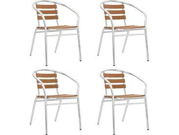 Chaises empilables de jardin 4 pcs Aluminium et WPC Argenté - vidaXL
