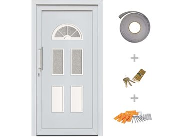 Porte d'entrée principale Blanc 110x210 cm - vidaXL
