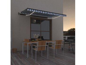 Auvent automatique capteur de vent/LED 450x300 cm Bleu et blanc - vidaXL