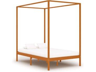 Cadre de lit à baldaquin Marron miel Pin massif 140x200 cm - vidaXL