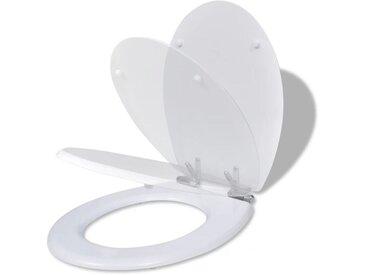 Siège de toilette MDF Couvercle à fermeture en douceur Blanc - vidaXL