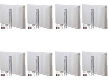 Radiateurs à convecteur à connecteurs au fond 8 pcs 120x10x60cm - vidaXL