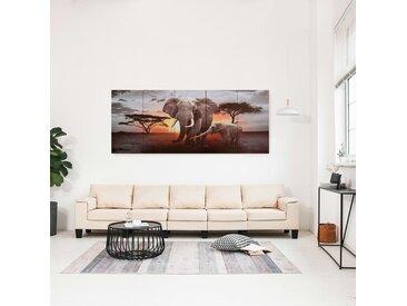Jeu de tableau sur toile Éléphant Multicolore 200x80 cm - vidaXL