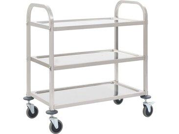 Chariot de cuisine à 3 niveaux 107x55x90 cm Acier inoxydable - vidaXL