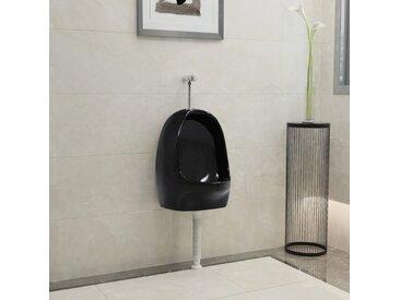 Urinoir suspendu avec valve de chasse d'eau Céramique Noir - vidaXL