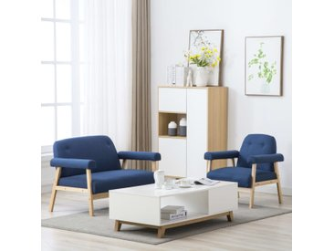 Jeu de canapé pour 3 personnes 2 pcs Tissu Bleu - vidaXL
